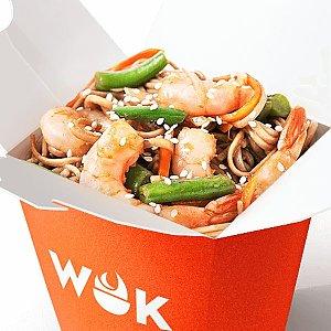 Креветки в устричном соусе с лапшой соба, WOK - Минск