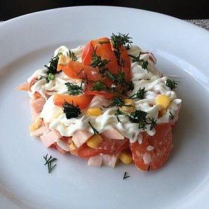 Салат овощной с ветчиной, Martin Cafe