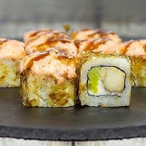Ролл запеченный с курицей и такуаном, Япончик