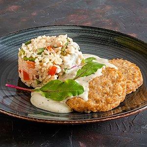 Рыбные котлетки с рисом и овощами , CAFE GARAGE - Гомель
