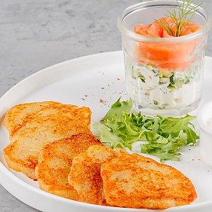 Драники с лососем и сливочным сыром, Terra Pizza