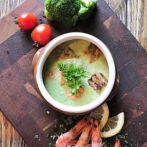 Суп-пюре из брокколи с креветками, КУХНЯ