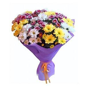 Букет 15 хризантем микс в упаковке, Лаванда - Бобруйск