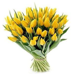 Букет 49 желтых тюльпанов, Лаванда - Бобруйск