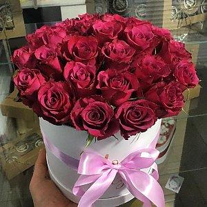 25 роз в шляпной коробке, FRESH FLOWERS