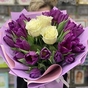 Букет Тюльпаны и розы в середине, Лора