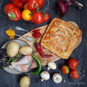 Тандыровский пирог с картофелем, курицей и грибами (1000г), Тандыр