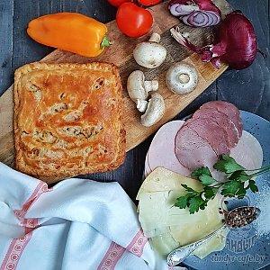 Тандыровский пирог с ветчиной, грибами и сыром (1000г), Тандыр