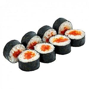 Ролл с лососем и икрой тобико, NAKA SUSHI